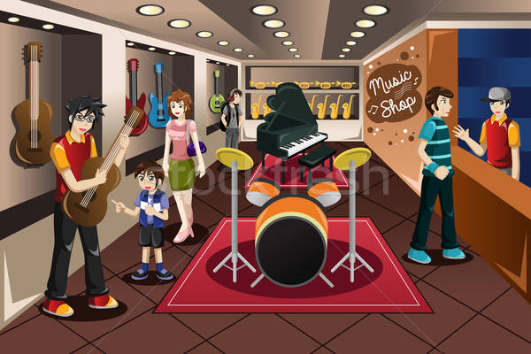 Parent Kid Buying Musical Instrument Stock photo © artisticco