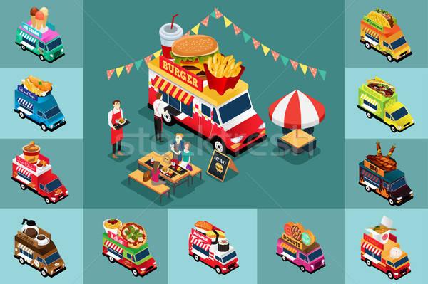 изометрический дизайна различный продовольствие грузовиков пиццы Сток-фото © artisticco
