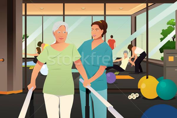 Terapeuta dolgozik idős beteg nővér testmozgás Stock fotó © artisticco