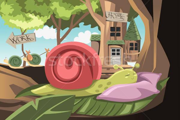 Tembel salyangoz uyku karikatür kavram Stok fotoğraf © artisticco