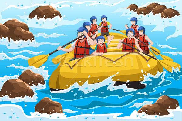 Personas rafting grupo feliz a la gente río agua Foto stock © artisticco