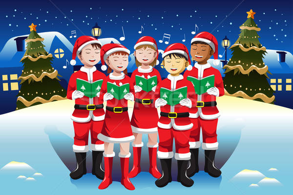 Children singing in Christmas choir Stock photo © artisticco