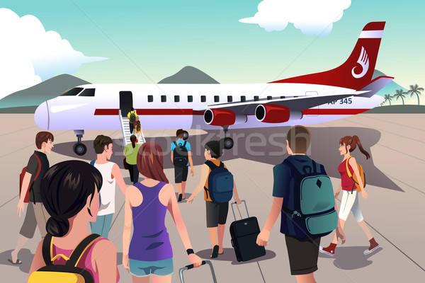 Turisták beszállás repülőgép lány nők férfiak Stock fotó © artisticco