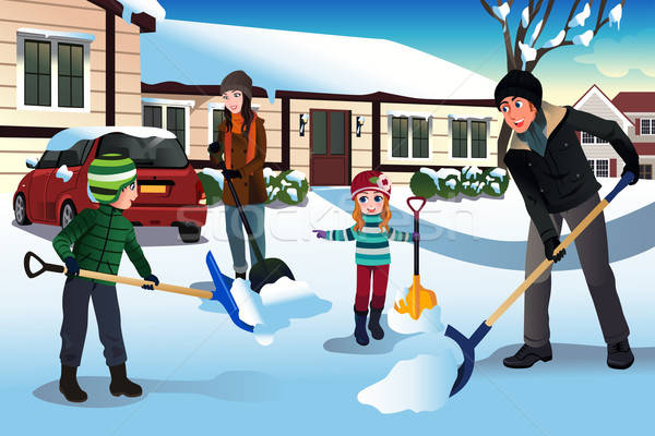 Family shoveling snow in front of their house Stock photo © artisticco