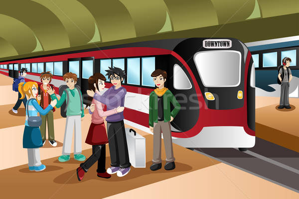 Kids Saying Farewell in the Train Station Stock photo © artisticco