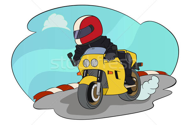 Biker Riding on His Motorbike Stock photo © artisticco