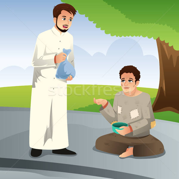 Muslim Man Giving Donation to a Poor Man Stock photo © artisticco