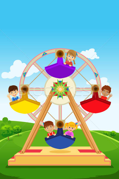 Kids riding a ferris wheel Stock photo © artisticco
