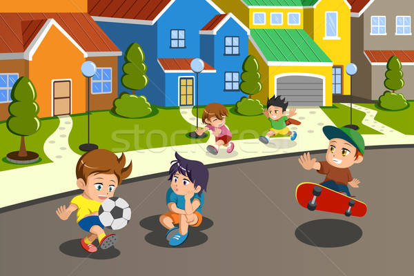 Kids playing in the street of a suburban neighborhood Stock photo © artisticco