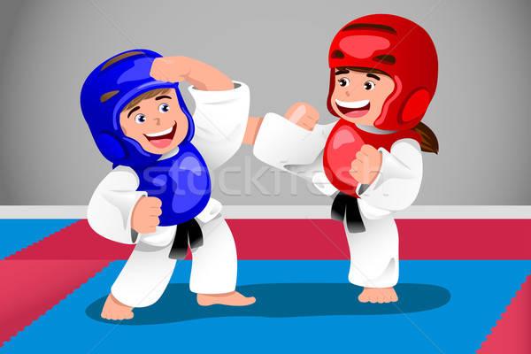 çocuklar taekwondo arkadaşlar erkek genç Stok fotoğraf © artisticco
