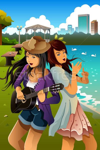 Foto stock: Cantando · jugando · guitarra · junto · parque
