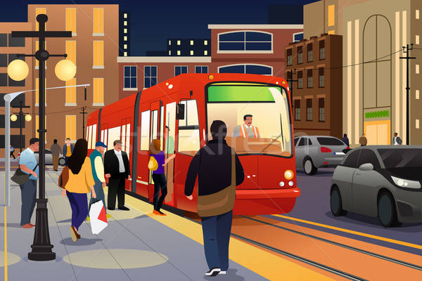 People Riding and Boarding a Street Car Stock photo © artisticco