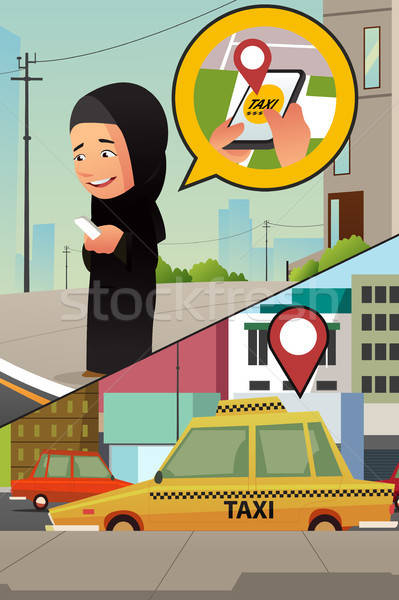 Muslim Woman Calling Taxi from Her Cellphone Stock photo © artisticco