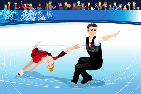 Stock photo: Figure Skating Athletes Competing Illustration
