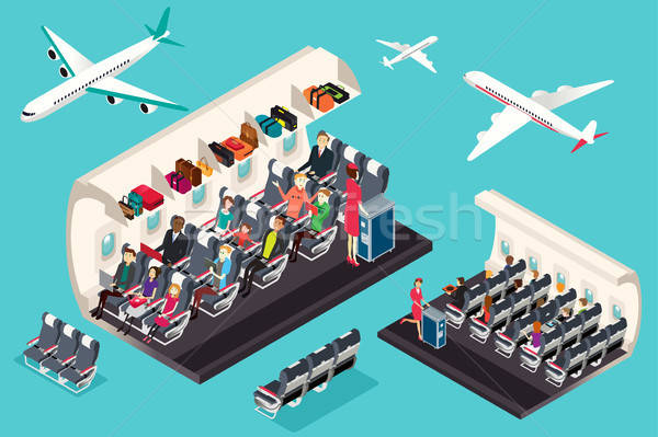 Isometric View of the Interior of an Airplane Illustration Stock photo © artisticco