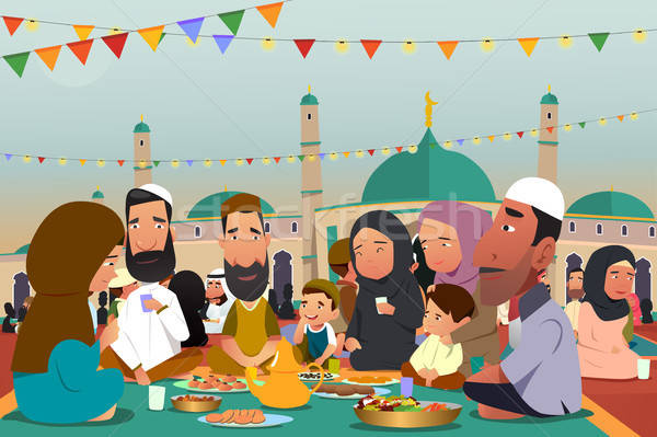 Mangiare insieme ramadan illustrazione famiglia bambini Foto d'archivio © artisticco