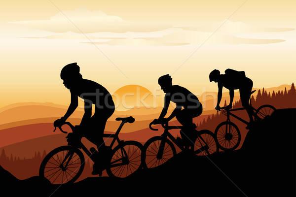 Grupy górskich sportu rowerów sylwetka Zdjęcia stock © artisticco