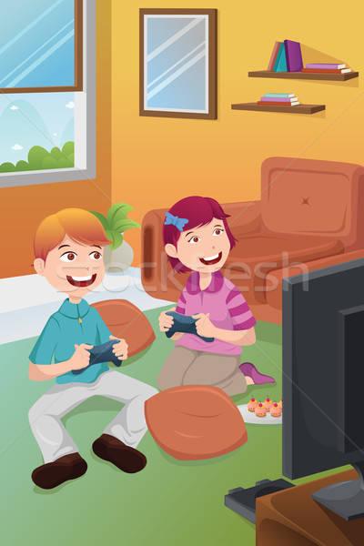 Kinderen spelen video games home televisie gelukkig kinderen Stockfoto © artisticco