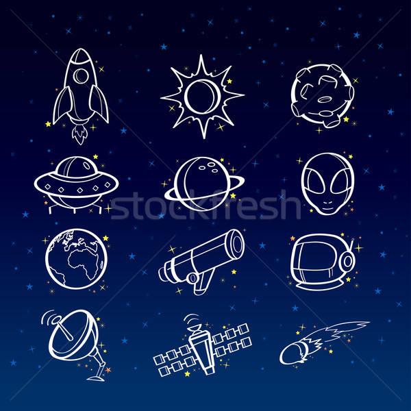Astronomia ikona ikona ziemi przestrzeni planety Zdjęcia stock © artisticco