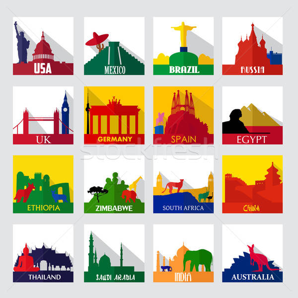 Popular sightseeing spots in the world icons Stock photo © artisticco