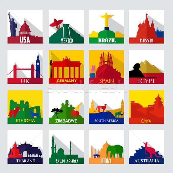 Népszerű városnézés foltok világ ikonok Európa Stock fotó © artisticco