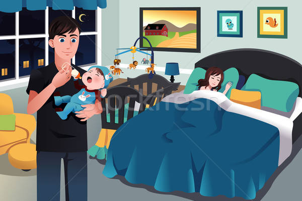 Father holding a newborn baby Stock photo © artisticco