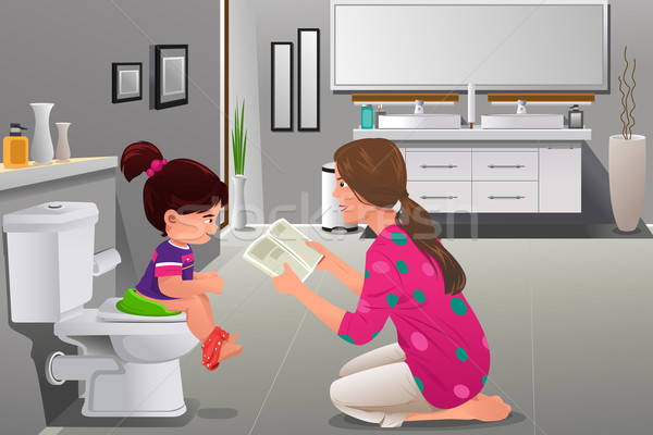 Girl doing potty training with her mother watching Stock photo © artisticco
