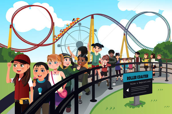 Children waiting in line for a roller coaster ride Stock photo © artisticco