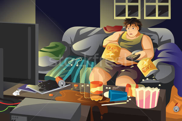 ленивый человека еды картофельные чипсы смотрят телевизор Сток-фото © artisticco