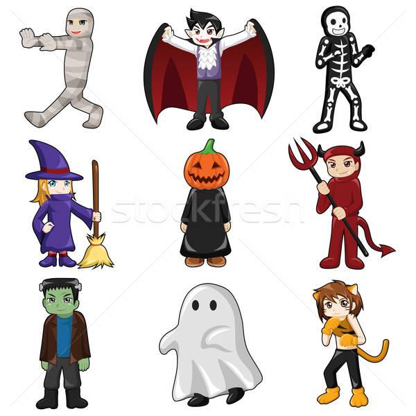 Halloween szörny ikonok ikon ünnep rajz Stock fotó © artisticco