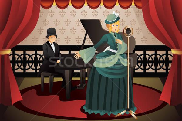 énekes zongorista előad színpad férfi mikrofon Stock fotó © artisticco