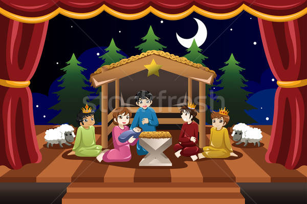 Kids Playing in Christmas Drama Stock photo © artisticco