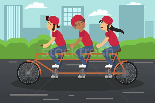 дети верховая езда тандем велосипедов вместе девушки Сток-фото © artisticco