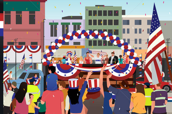 People Celebrating Fourth of July Parade Illustration Stock photo © artisticco