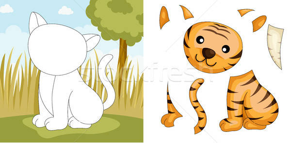 Tijger puzzel kinderen spel cartoon outdoor Stockfoto © artisticco