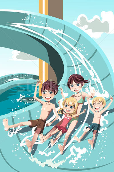 Kids playing in water slides Stock photo © artisticco