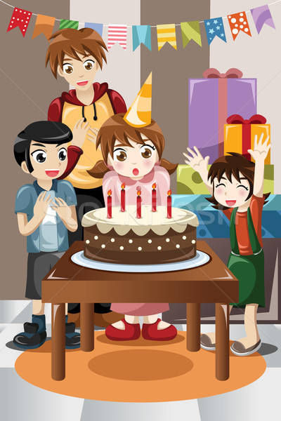 Gyerekek ünnepel születésnapi buli buli gyerekek születésnap Stock fotó © artisticco