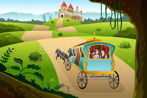 Herceg hercegnő lovaglás vagon ló férfi Stock fotó © artisticco