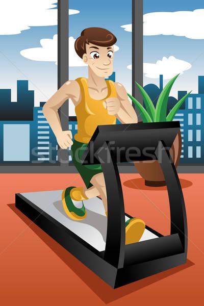 Człowiek uruchomiony kierat sportu fitness wykonywania Zdjęcia stock © artisticco