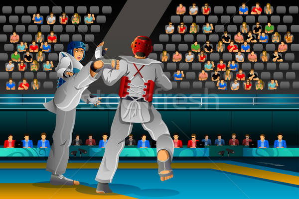 Men Competing in a Taekwondo Competition Stock photo © artisticco