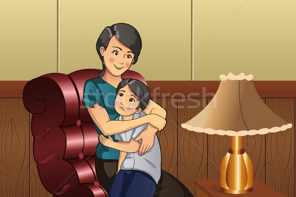 Mother comforting her kid Stock photo © artisticco