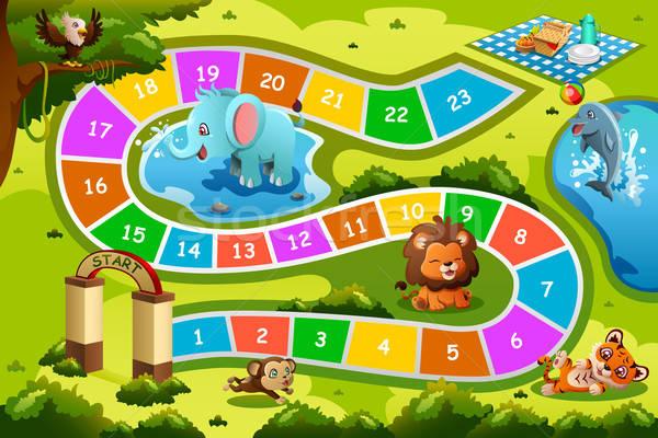 Társasjáték állat terv gyermek tigris játék Stock fotó © artisticco