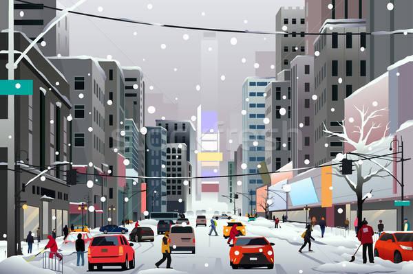 Pessoas caminhada cidade inverno tempestade carros Foto stock © artisticco