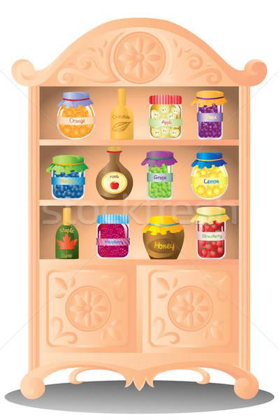 Frutta jam sciroppo shelf mela cioccolato Foto d'archivio © artisticco