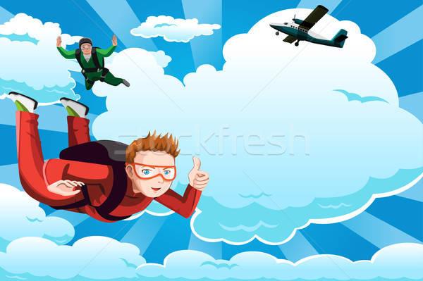Skydiving mensen exemplaar ruimte wolken man sport Stockfoto © artisticco