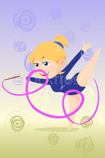Gyerek torna tánc gyönyörű lány szalag mosoly Stock fotó © artisticco