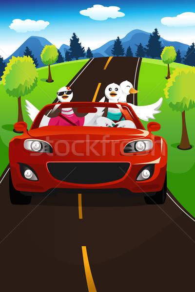 Strada viaggio gruppo divertimento disegno cartoon Foto d'archivio © artisticco
