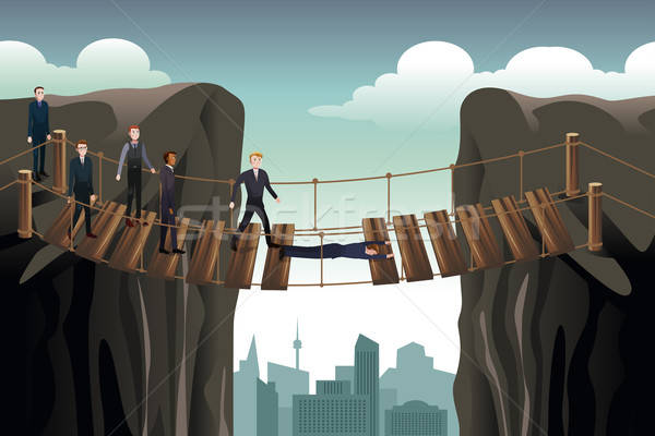 Businessman Helping His Colleagues Crossing  the Bridge For Team Stock photo © artisticco