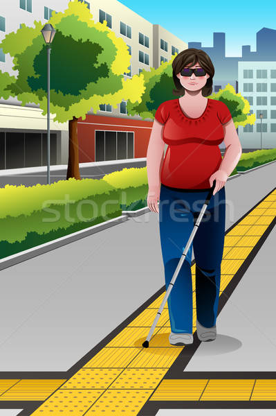 Blind People Walking on Sidewalk Stock photo © artisticco