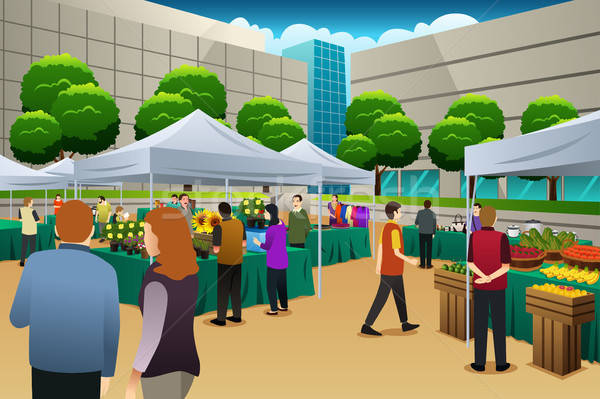 People Shopping in Farmers Market Stock photo © artisticco
